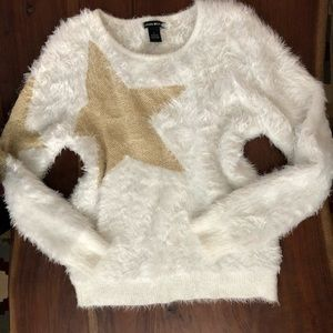 Fuzzy White Star Sweater